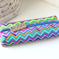 Colorful Chevron Pencil Case Boxy Pouch Chevron Zipper Pouch Cute Pencil Case
