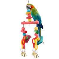 Colorful Pet Bird Toy Parrot Chew Toys Pet Bird Swing Scratcher Bites Toy Wooden Cubes 10*3*32cm