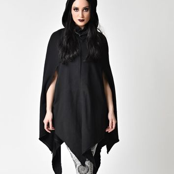 Gothic Style Black Hooded & Tapered Cotton Cloak