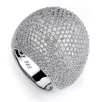 Big Cubic Zirconia Dome Ring Pave Setting
