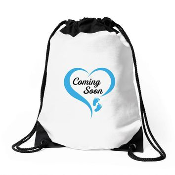 coming soon baby boy maternity design Drawstring Bags