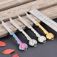 OK Printed Camping Outdoor Survival Pocket Folding Blade Key Shaped Knife Gift Multicolor