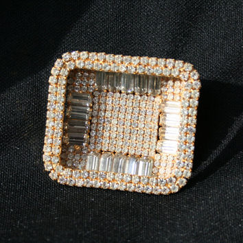 Large Vintage Goldtone Rhinestone Brooch, Large Rectangle Rhinestone Pin Brooch, Bridal Brooch, Vintage Crystal Brooch, Art Deco Brooch