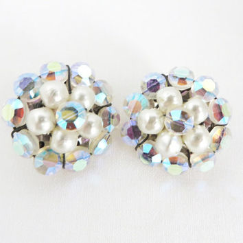 Vintage Rhinestone & Faux Pearl Cluster Earrings - Silver Tone Clip-ons