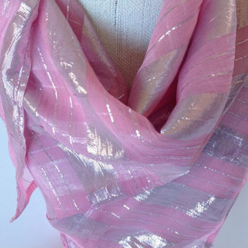 Pastel Pink silk scarf, Cancer patient gift, Holiday Gifts, Gift for her, Gift for Girlfriend, Wedding Gift, Step Mom, Mother of Groom