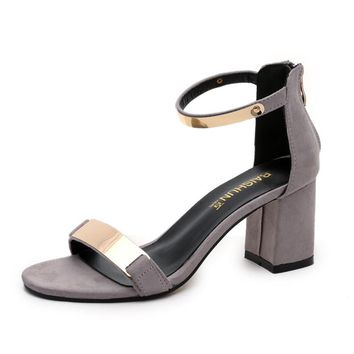MUQGEW Women Summer Sandals Open Toe Women Sandles Thick Heel Shoes Gladiator Shoes  #LREW