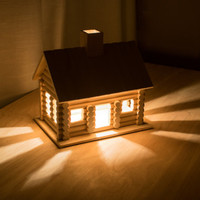 Log Cabin Night Light - Woodland / Wilderness / Nature / Camping Themed Nursery Nightlight - Baby / Kid's Room Lamp