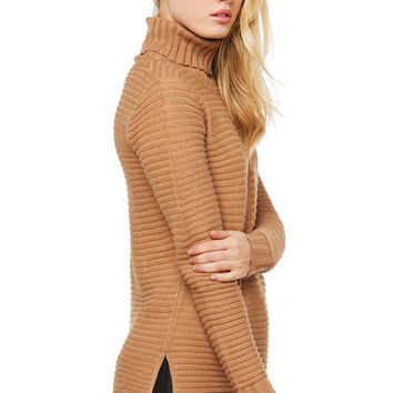 The Outcome Ribbed Sweater - Camel