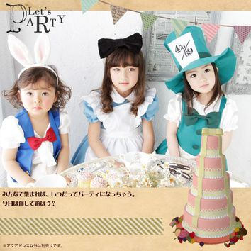 Alice In Wonderland Dress Lolita Dress Maid Cosplay Fantasia Carnival Costumes For Kid Children Novelty Girl Dress with Headband