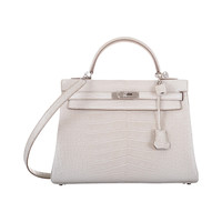 HERMES KELLY BAG 32cm BETON MATTE ALLIGATOR WITH PALLADIUM HARDWARE JaneFinds