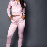 Pearly Gold Hoodie & Pants Set Mauve