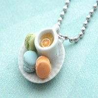 french macarons and tea necklace