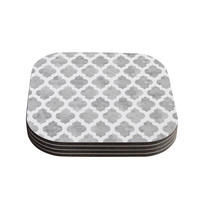 "Amanda Lane ""Gray Moroccan"" Grey White Coasters (Set of 4)"