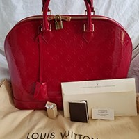 LOUIS V BAGS Monogram handbags for women original : Monogram Vernis Alma BB Rose Litchi of Coated Leather wallet canvas on clearance.