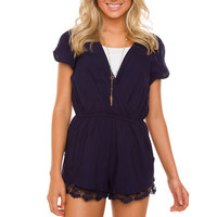 Lindsey Lace Romper - Navy