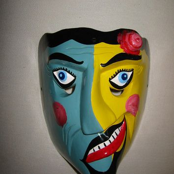 Artisan Mexican Mask Modern Impressionist Signed Dated Scripted