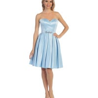 Perry Blue Strapless Sweetheart Corset Satin Dress 2015 Homecoming Dresses