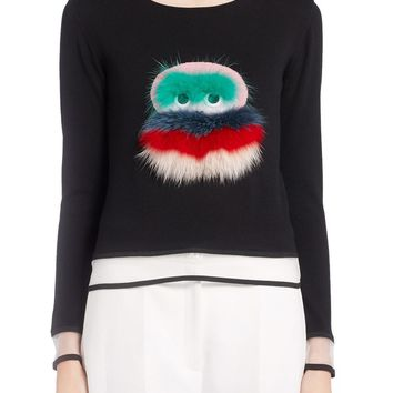 Fendi Bug Sweater with Leather & Genuine Fox Fur Trim | Nordstrom