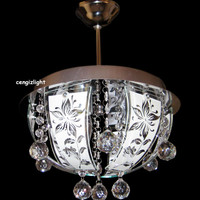 Hand Painted Silk Screen Glass 3 Light Round Hanging Crystal Chandelier Light