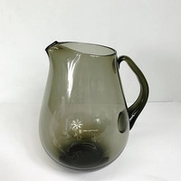 Vintage Smoke Gray Blown Glass Pitcher Grey Smoke Glass Drinkware Barware Jug Pitcher Hand Blown Glass Black