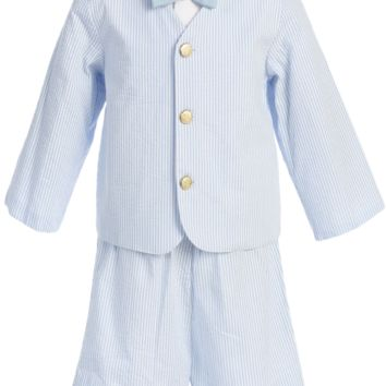 Light Blue Seersucker Eton Jacket & Shorts 4 Pc Outfit (Baby 6 months to Boys size 6)