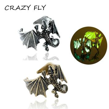 CRAZY FLY 2018 Fashion Ring Anillos Silver Bronze Men Adjustable Dragon Luminous Rings Glow In Dark Pterosaur Rings Finger Ringe