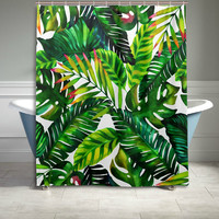 Watercolor Pattern Banana Leaf Shower Curtain Tropical Jungle Palm Bathroom Sets Home Decor Polyester Fabric 60 X 72 Inches Green