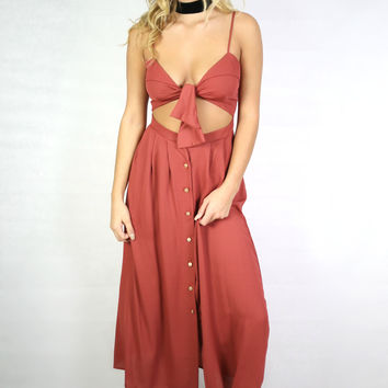 Looking Pretty Rust Solid Maxi With Cut Outs