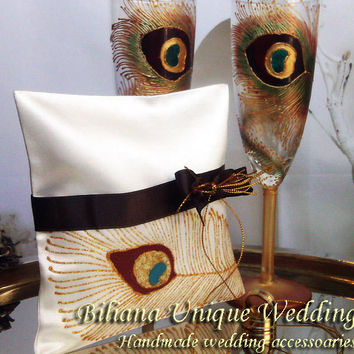 Hand painted Satin ring bearer pillow Gold and brown peacock feathers personalized wedding favor
