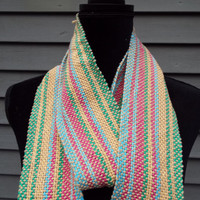Colorful Cotton Scarf, Hand-woven Scarf, Lighweight Scarf, Rainbow colors, Spring accessory, Womens accessory, Gifts for mom, Gifts for her