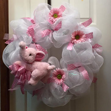 Baby Girl Wreath, Shower Gift Wreath, Front Door Decoration, Welcome Home  Baby Wreath