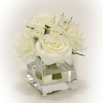 Waterlook (r) Cream White Rose Bouquet In Glass Square Vase