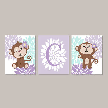 MONKEY Girl Wall Art, MONKEY Theme Nursery Girl Floral Nursery Jungle Theme Set of 3 Prints or Canvas Big Girl Bedroom Art Monkey Bathroom