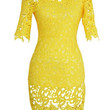 Yellow 3/4 Sleeve Cut Out Lace Dress