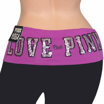 Victoria's Secret Pink Yoga Pants Legging Sequins Bling Sparkle