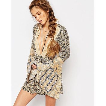 SALE 50% OFF Once Upon A Summertime Boho Romper Playsuit By Free People Size XS Blue Golden Floral Extra Small Bell Sleeve Plunge Neck Backless Shorts Set One Piece