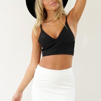White Faux Leather High Waist Skirt with Asymmetric Hemline