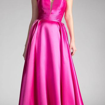 Strapless Ball Gown Prom Dress Empire Waist Lace Up Back Magenta