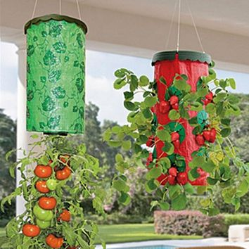 Tomato Strawberry Upside Down Hanging Planter Garden Hang Row Seeds Greening Planting Bag