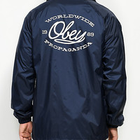 Obey Lineas Navy & White Coaches Jacket | Zumiez