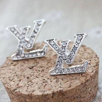 LV Louis Vuitton 2018 new fashion women's letter diamond earrings F/I12845-1