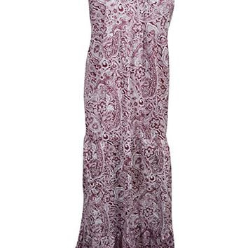 Mogul Womens Sun Dress Purple Paisley Floral Print Strapped Casual Dress