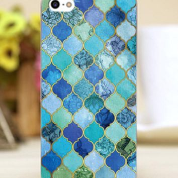 Cobalt Blue Aqua & Gold Decorative Moroccan Tile Pattern Design iPhone Hard Shell Case