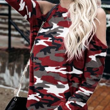 Burgundy Camo Print Cut Out Sleeve Casual T-Shirt