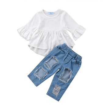 2Pcs Summer Girls Clothing Set Toddler Girl Kids Tunic Tops Dress Ripped Denim Pants Outfits Clothes