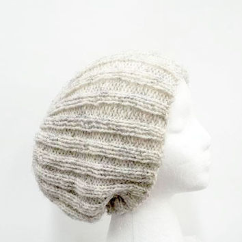 Knitted slouchy beanie ribbed hat light tan 5297