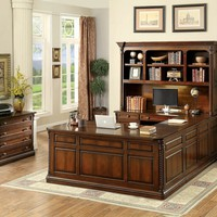 Furniture of america CM-DK6382 4 pc lavinia collection dark oak finish wood u shaped executive desk and hutch set