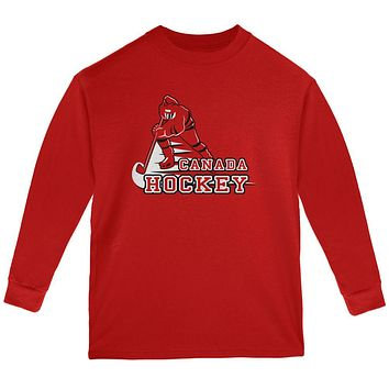 Fast Hockey Player Country Canada Youth Long Sleeve T Shirt