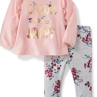 2-Piece Ruffle-Trim Tee and Pull-On Jeggings Set for Baby | Old Navy