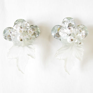 Statement Vintage Earrings - Costume Pearl, Aurora Borealis Bead Cluster w Frosted Hard Plastic Leaf - Fun & Unique!